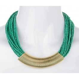 Layers and layers of tiny green beads threaded through a coil centre!