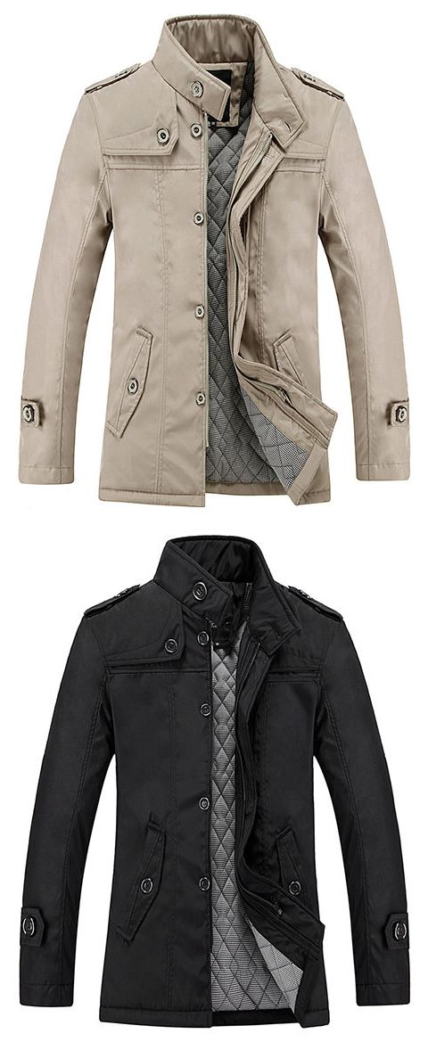 US$38.23 Mens Business Casual Trench Coat Single-breasted Warm Thick Cotton Lining Jacket