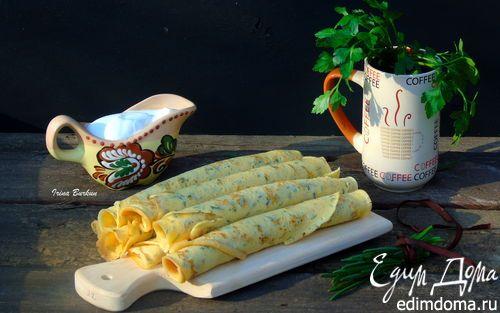 Блины на ряженке с зеленью | Кулинарные рецепты от «Едим дома!»