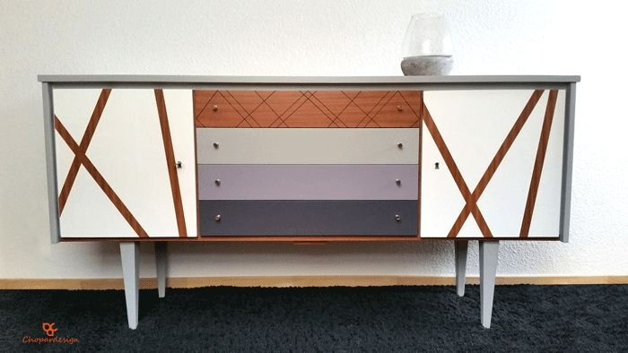 Commode vintage années 60 4 tiroirs en bois pyrogravée et peinte à la main / VENDU «