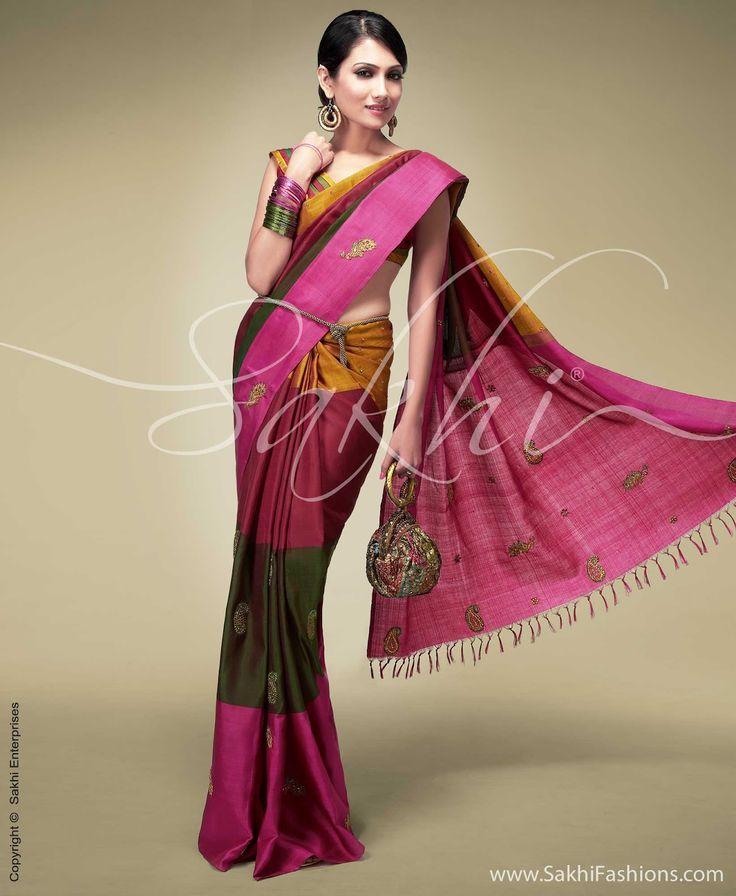 Kanjeevaram multi-colour saree from Sakhi fashions   -  Indian jewellery and clothing
