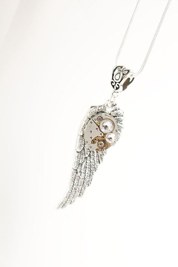 Angel Wing Necklace - Angel Necklace - Steampunk Necklace - Watch Movement Necklace - Gothic Jewelry - Gothic Wedding - Gifts Ideas for Her