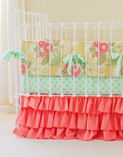 Yellow and Coral baby girl crib bedding set with mint metallic accents.