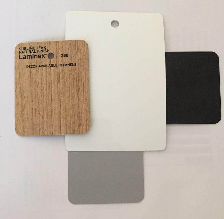 Bathroom colour board - laminex sublime teak riven finish (vanity) Caesar stone snow (vanity), Meir matte black tapware, Himalayan light grey tiles (floor) gloss white subway tiles