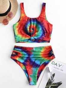 Knot Ruched Rainbow Tie Dye Tankini Swimsuit for teens curvy big bosom high waisted sporty women