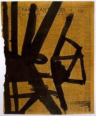 Franz Kline (1910–1962)**  Was een Amerikaans kunstschilder. Eind jaren 40 ontstonden zijn eerste abstracte schilderijen. Hij werd hiertoe op het spoor gezet door Willem de Kooning, die hem de suggestie aan de hand deed zijn schetsen uitvergroot op de muur te projecteren. In Kline's schilderijen was geen sprake van improvisatie. Het werk werd met witte en zwarte verf gemaakt. Aan het eind van zijn leven, rond 1955, begon Kline kleur toe te voegen aan zijn schilderijen.