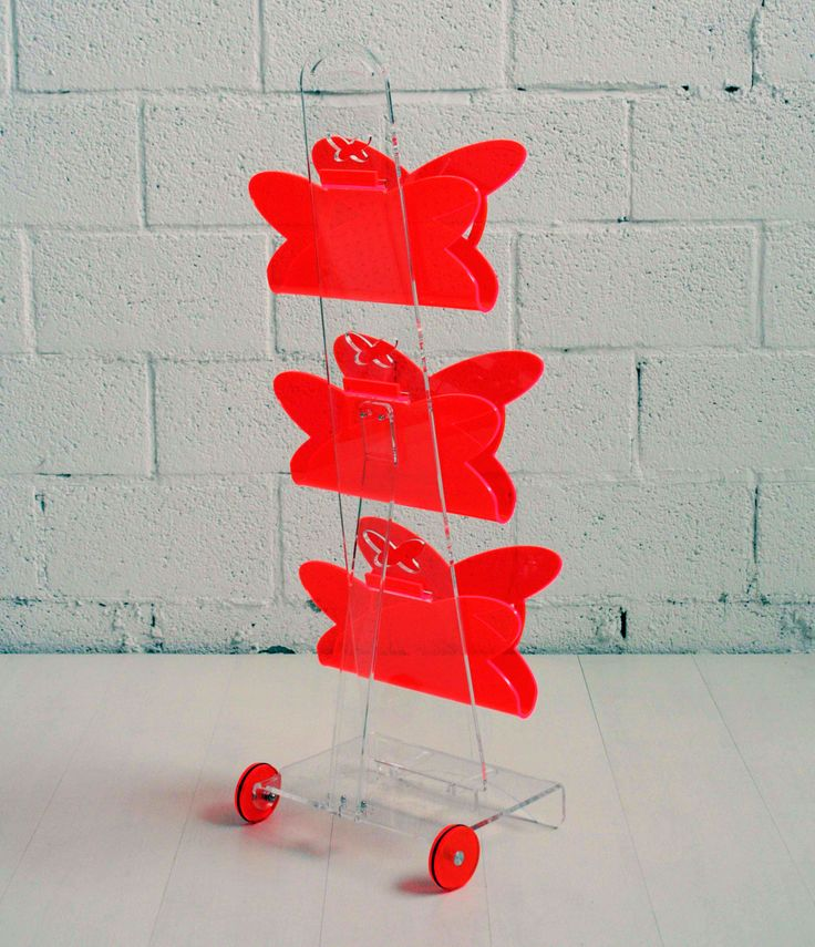 Butterfly #magazine #rack by Lab145 #design #factory - #transparent / #red Available on Lacrom #Store