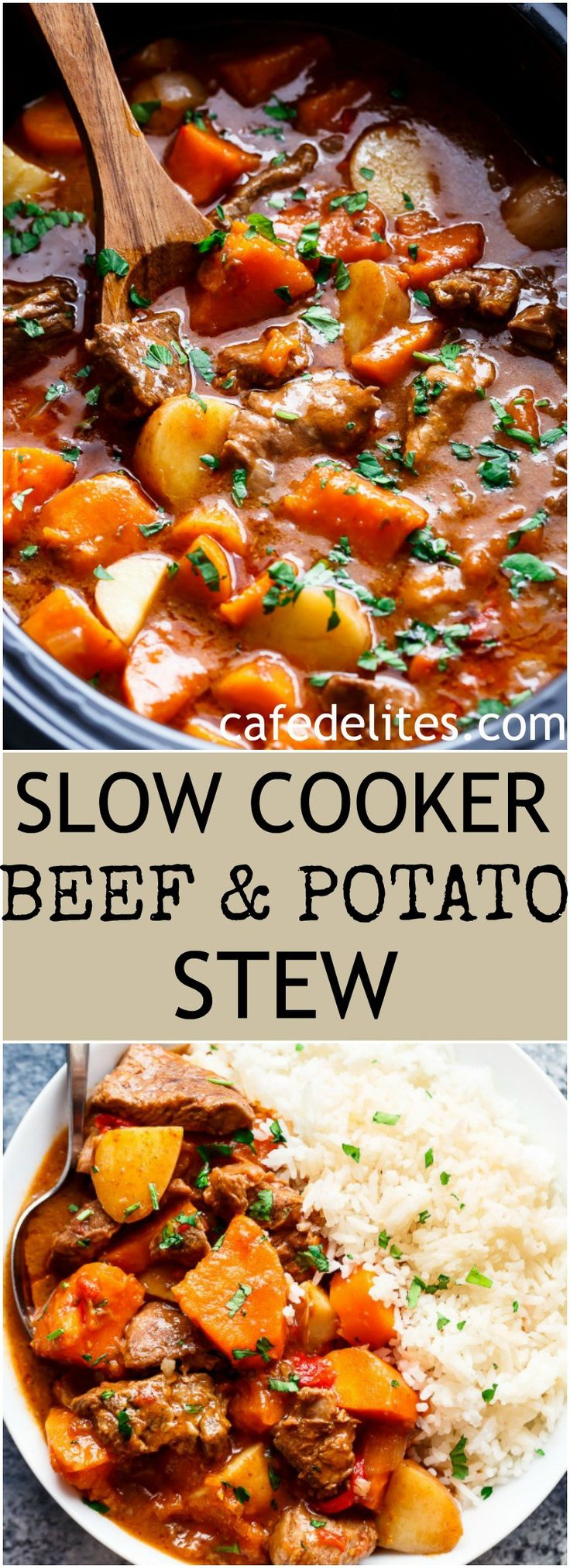 Slow Cooker Beef & Sweet Potato Stew is easy to throw together and filled with fall apart, tender beef pieces and sweet potato! | http://cafedelites.com
