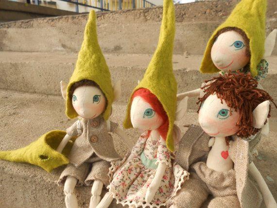 Elf a mano muñeca muñeca Natural muñeca de la tela por FelThink