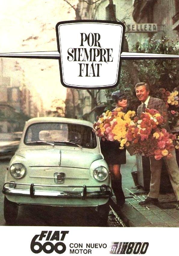 FIAT 600. Publicidad década del 60. Modelos, Marta Cerain y Ante Garmaz.