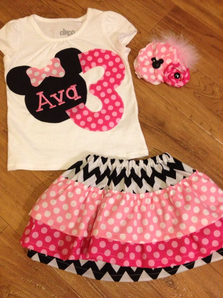 Minnie Mouse birthday outfit in pink polka dot by PeacebyPiece01, $50.00