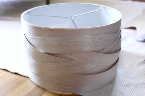 woven balsa wood lampshade via design sponge