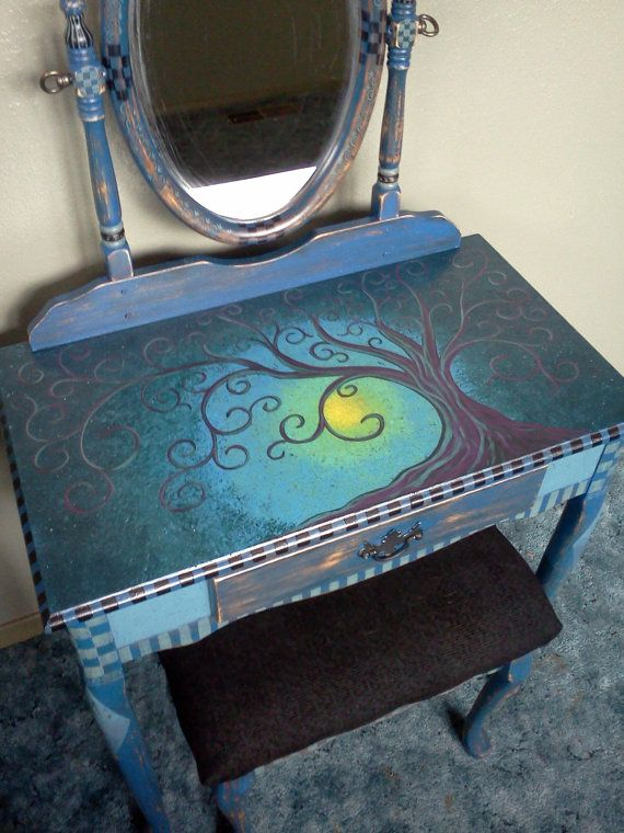 Hand painted Vanity, Mirror and Bench, Shabby Chic, Artistic Funky, OOAK, Blue, Black, Unique Furniture Accessory Piece. $245.00, via Etsy.