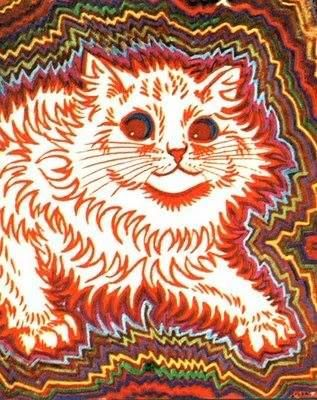 Made by Louis Wain: https://en.wikipedia.org/wiki/Louis_Wain Following his life his way of drawing cats evolved considerably, from realistic depictions to something like this, and even further.