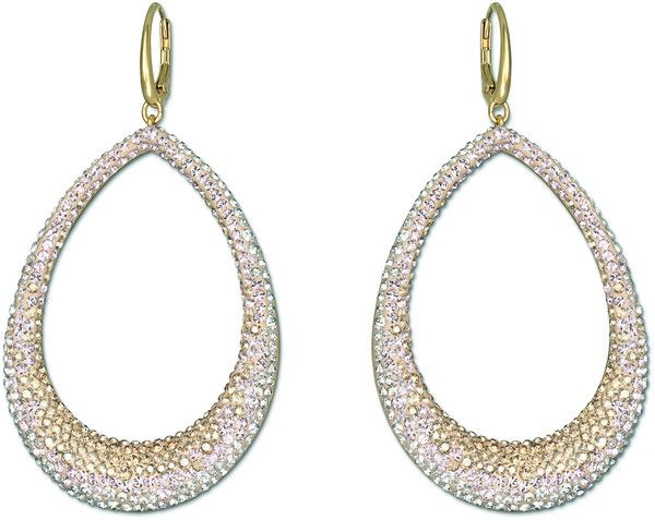 SWAROVSKI Abstract Large Pierced Earrings - Gold, $180 ON JENEELOVEE.COM - This pair of gold-plated pierced earrings captures the XXL-trend. They feature a stunning gradation of crystal colors set in Swarovski's exclusive Pointiage® technique.