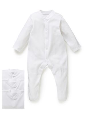 M&S3 Pack Pure Cotton White Sleepsuits