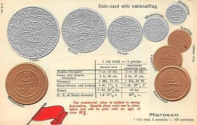 #Marocco silver & gold coins flag #table rate embossed #patriotic postcard c. 191,  View more on the LINK: 	http://www.zeppy.io/product/gb/2/381829420365/