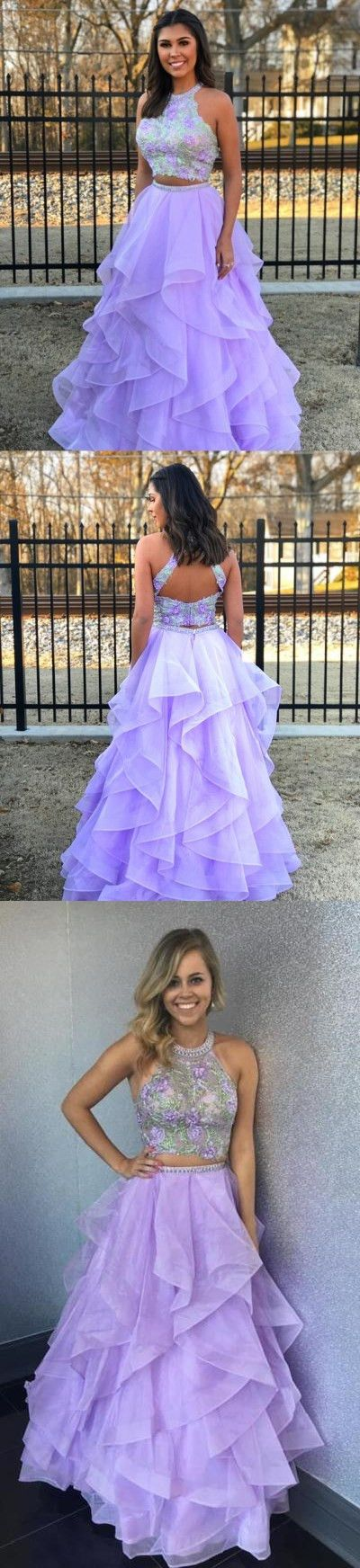 Two Piece Lavender Long Prom Dress with Open Back M1153#prom #promdress #promdresses #longpromdress #promgowns #promgown #2018style #newfashion #newstyles #2018newprom#eveninggown#twopiece#lavender#openback