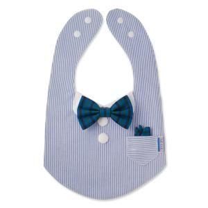 bib-bab スタイ [フォーマルポケットチーフセット(青×緑系チェック蝶ネクタイ)] - お出かけ用のおしゃれな手作りベビースタイ「bib-bab ビブバブ」 | グランマーマのお針箱