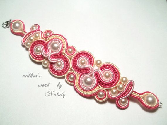 OOAK Soutache Jewelry  Bracelet With Czech Glass Beads by Lily4you, $25.00
