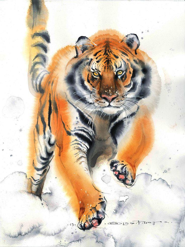 Тигры акварели картинки