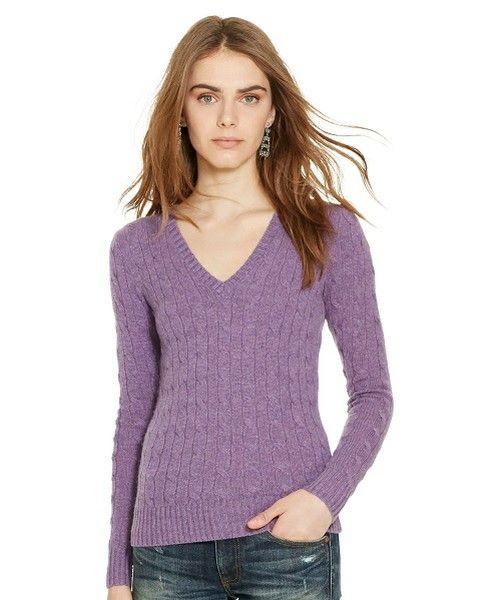 POLO WOMEN'S(ポロ ウィメンズ)のスリム ケーブル カシミヤ セーター(ニット/セーター)|パープル系3