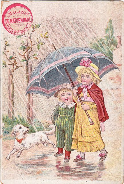 CHROMO MECH ZWIRNEREI HEILBRONN - BOY AND GIRL AND DOG WALKING IN RAIN WITH UMBRELLA | par patrick.marks