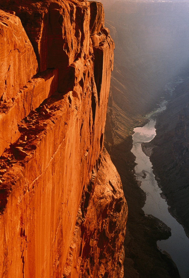 Sheer cliff wall 3000 vertical feet above the Colorado River, Toroweap Overlook, North Rim, Grand Canyon, Arizona. Photograph by Bruce Dale.