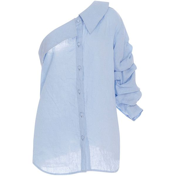Johanna Ortiz M'O Exclusive Malibu One Shoulder Shirt ($795) ❤ liked on Polyvore featuring tops, puffy sleeve shirt, light blue collared shirt, light blue shirt, puff sleeve shirt and off one shoulder tops