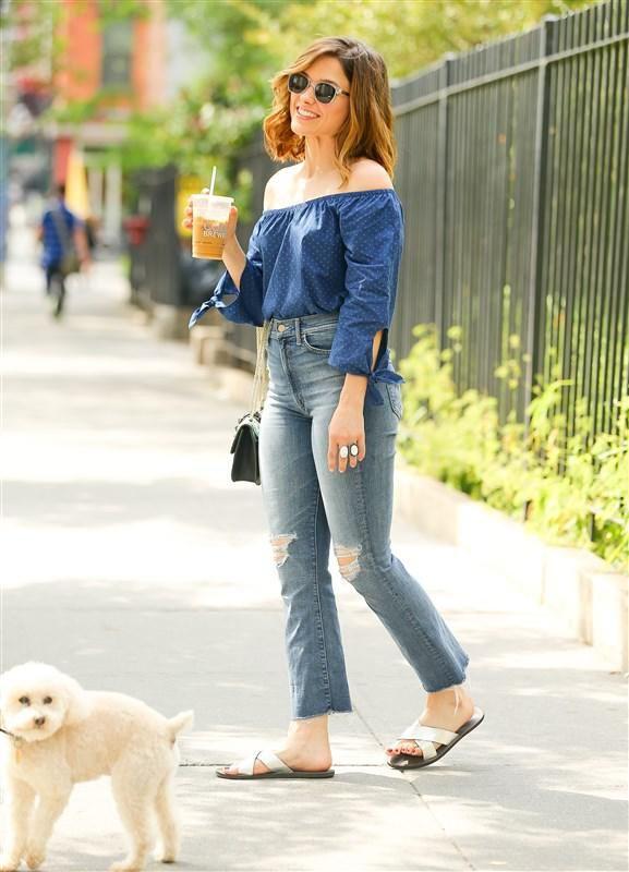 Sophia Bush showing off those shoulders in NYC - Best Summer 2016 Trends: Celeb Street Style