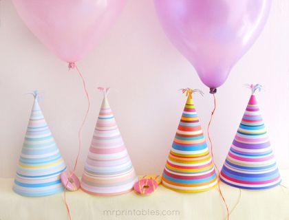 printable party hats with stripes: Chic Parties, Kids Parties, Parties Hats, Parties Plans, Gorro Para Fiestas, Fiestas Imprim, Cute Kids, Imprim Diy, Printable Parties