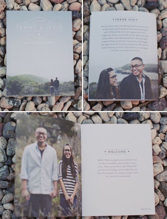 Adorable programs!  This is why you need engagement photos!  Los Angeles Industrial Greenhouse Wedding: Tawny + Irv