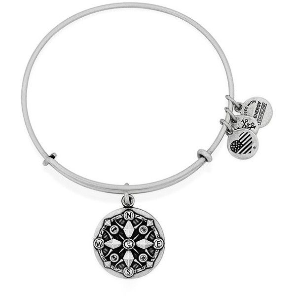 Alex and Ani 'Compass' Adjustable Wire Bangle (£15) ❤ liked on Polyvore featuring jewelry, bracelets, silver, charm bracelet bangle, alex and ani bangles, bangle charm bracelet, wire bangle bracelet and hinged bangle