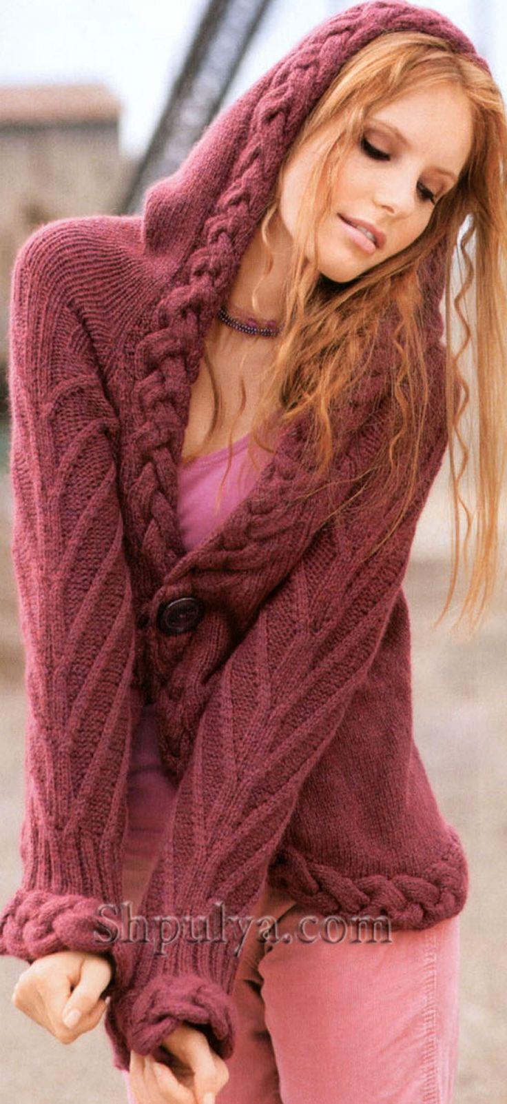 Розовый жакет с капюшоном, вязаный спицами