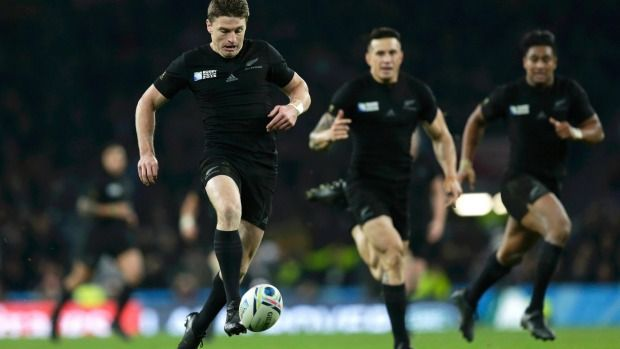 Beauden Barrett puts in an attacking kick, one of the many in his arsenal.