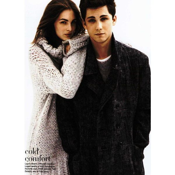 Teen Vogue Editorial Close Knit, November 2011 Shot #4 ❤ liked on Polyvore featuring people, couples, models, logan lerman, pictures, editorials and laura love
