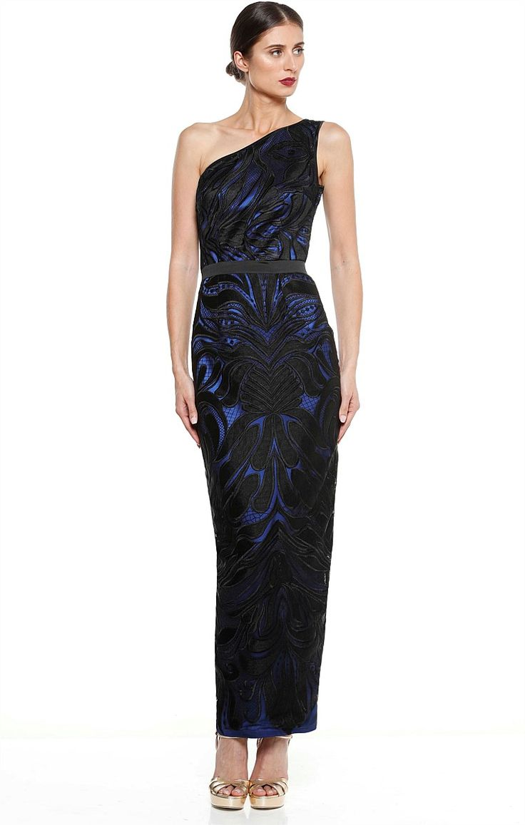 LA MADONNA ONE SHOULDER EMBROIDERED LONG EVENING GOWN IN BLACK SAPPHIRE