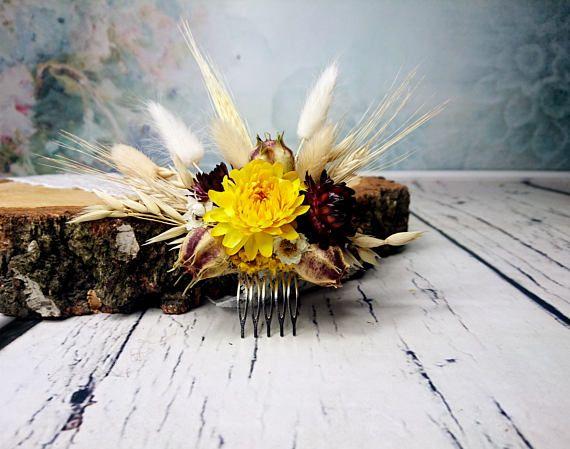 Dried flowers wheat HAIR COMB straw Flower grass nigella hair
