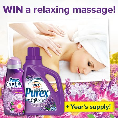 Enter to WIN a $150 massage gift card + a year's supply of @Purex Detergent and Purex Crystals!