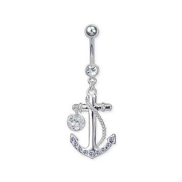 Stainless Steel Dangling Jeweled Anchor Belly Ring With Single Stone... ($7.99) ❤ liked on Polyvore featuring jewelry, rings, belly ring, dangle navel rings, anchor belly button ring, navel rings, stone belly button rings and dangle ring