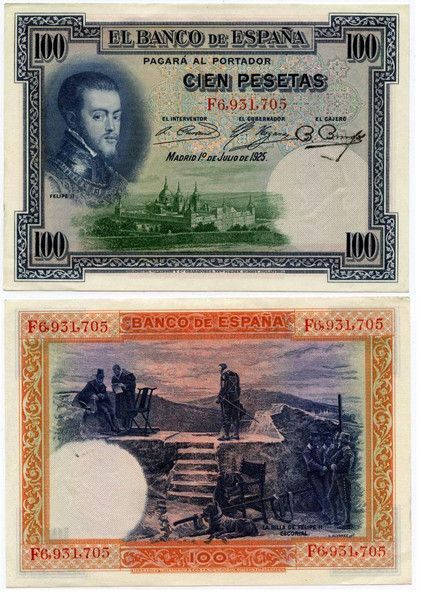 1925 Spain 100 Pesetas Republican Issue of 1936 Pick Number 69a Beautiful Crisp Uncirculated Banknote