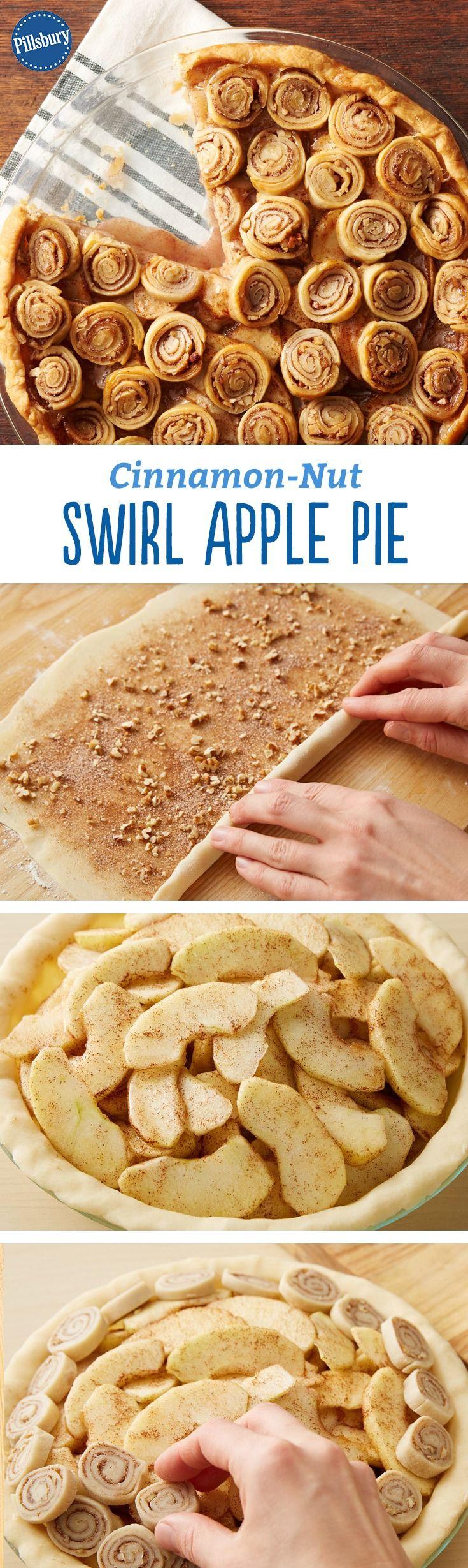 Cinnamon-Nut Swirl Apple Pie Recipe - No lattice? No problem. The swirls of cinnamon, sugar and pecans make this a fun and festive alternative to a classic apple pie.