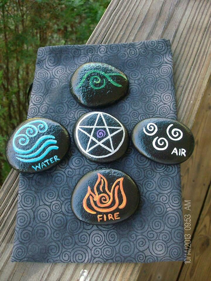 Painted rocks. Pagan Witch Wiccan craft inspiration