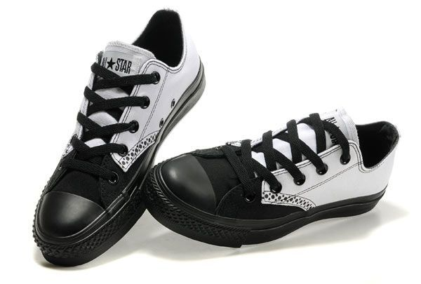 Converse All Star White Black Low Top Canvas Shoes - Cheap Converse Outlet On…