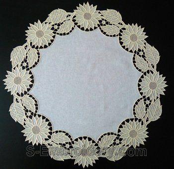 SKU 10581 Sunflower freestanding lace doily