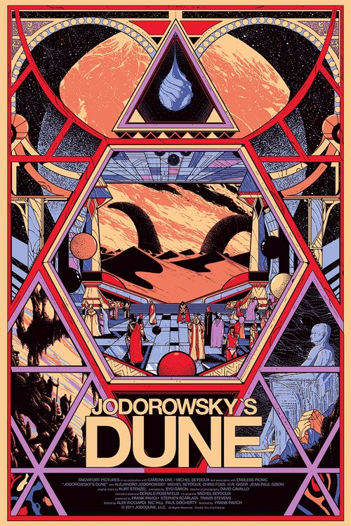 Poster for the upcoming documentary about Alejandro Jodorowsky's Dune (possibly the greatest Sci-Fi film that never was). The poster is released by Mondo. By Killian Eng