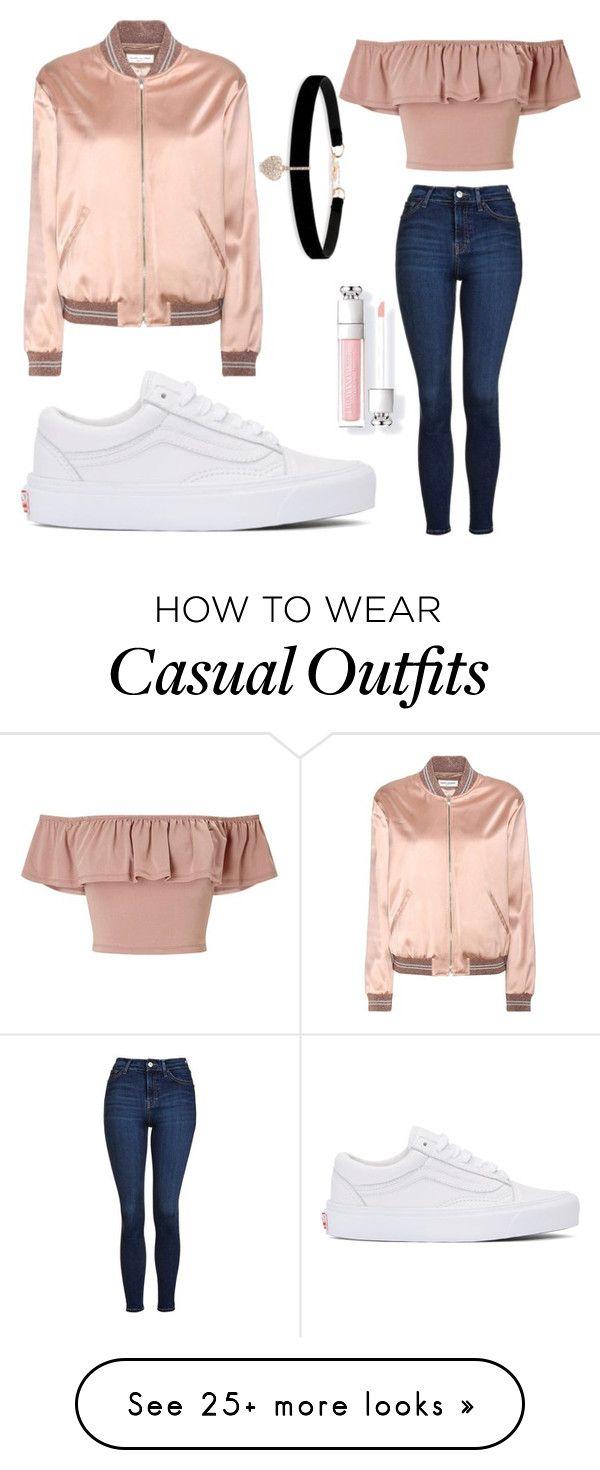 Pantalón jean, blusa salmón, chaqueta cobre, zapatos blancos