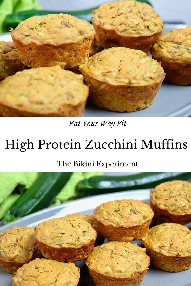 High protein zucchini muffins that will dazzle your tastebuds. These gems are low-sugar, gluten-free and healthy. Whip up this easy recipe in a flash! || The Bikini Experiment