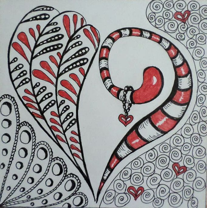 Heart for Valentine day in Zentangle stile. More pictures https://www.facebook.com/ercziart/