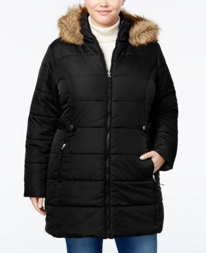 American Rag Trendy Plus Size Faux-Fur-Trim Puffer Coat, Only at Macy's - Black 0X